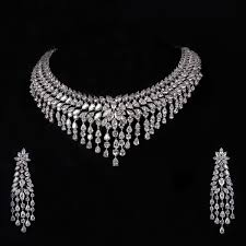 white stone necklace sets images Diamond necklace earrings set parincaa choker bridal jewellery jpg