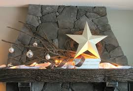 decorations natural stone rustic fireplace with christmas decor