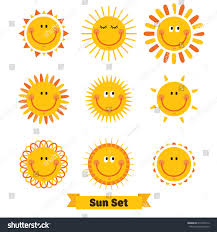 set sun emoticon illustrations designs stock vector