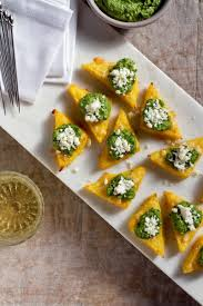 holiday appetizers broiled polenta bites with green harissa