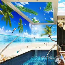 3d palm tree beach view seagull ceiling entire living room 3d palm tree beach view seagull ceiling entire living room wallpaper wall mural art decor idcqw