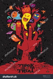 halloween red background vector illustration halloween background zombie hand stock vector