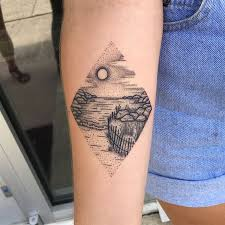 2017 trend geometric tattoo linework dotwork seascape by kelly