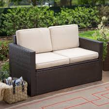Ideas For Outdoor Loveseat Cushions Design Coral Coast Berea Outdoor Wicker Storage Loveseat With Cushions
