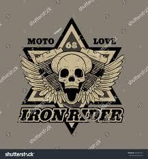 biker apparel skull biker iron rider print tshirts stock vector 401851207