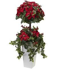 4 poinsettia berry topiary silk tree with decorative planter