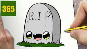 Easy Halloween Drawings For Kids by How To Draw A Tomb Halloween Cute Easy Step By Step Drawing