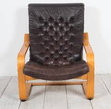 Ilea Chairs Pair Of Original Poem Chairs In Tufted Black Leather By Noboru