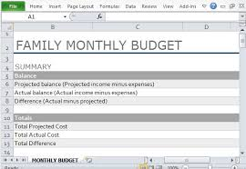 Family Budget Excel Template Monthly Family Budget Template For Excel