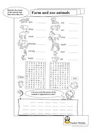 farm and zoo animals in alphabetical order worksheet free esl