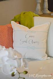 Bungalow Two Section Series by Nautical Come Sail Away Pillow Tutorial H20bungalow