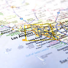 Map Los Angeles Ca by Close Up Map Of Los Angeles California Stock Photo Picture And