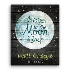 i you to the moon and back 11x14 personalized canvas