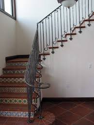 custom hand forged spanish revival stair railing side mounted