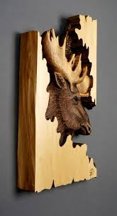moose carved on wood wood carving with bark made gift wall