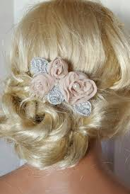 hair chiffon blush chagne bridal hair comb chiffon floral hair clip wedding