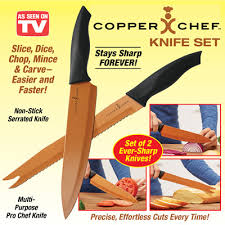 copper chef kitchen knives set of 2 from collections etc