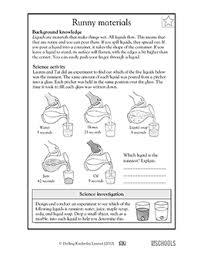 3rd grade 4th grade science worksheets runny materials