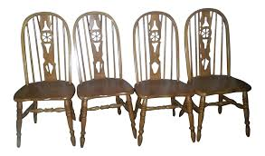 Oak Table With Windsor Back Chairs Windsor Oak Dining Room Chairs Wagon Wheel Set 4 Chairish