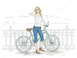 young woman with bike sketch pretty in blue jeans u2014 stock