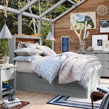 sutton upholstered storage bed set pbteen