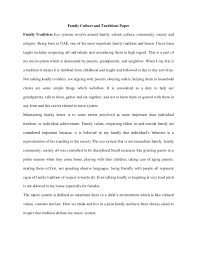 family culture and traditions paper 1