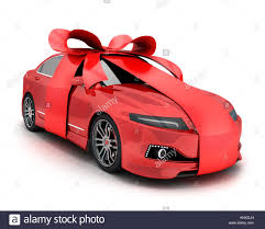 car gift bow car and gift bow and ribbon on white background 3d