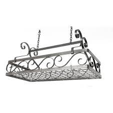 enclume large decor basket ceiling pot rack in hammered steel