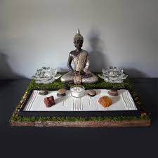 meditating buddha statue buddhist altar table by neonfoxart