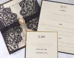 deco wedding invitations deco invitations etsy