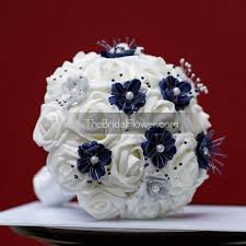 bouquet for wedding navy blue and silver small wedding bouquet for bridesmaids or