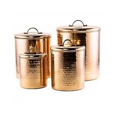 stainless steel canister set 4pc copper kitchen storage coffee