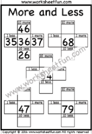 addition subtraction u2013 1 more 1 less free printable worksheets