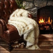 plush fur throw blanket white w black tip arctic fox russian