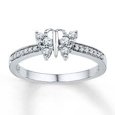 butterfly engagement rings butterfly ring 1 4 ct tw cut 10k white gold