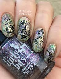 ehmkay nails mardi gras nail art saran wrap with lace decals