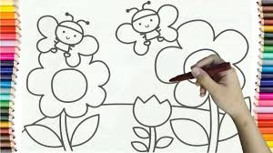 learning how to draw butterfly in flower garden colorful for kids