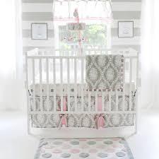 modern pink and gray crib bedding nursery design pink and gray
