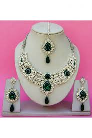 green color necklace set images Silver and green color zircon stone studded fancy necklace set jpg