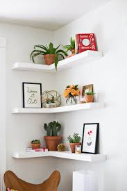 alluring corner floating shelves idea finished in white and