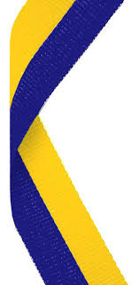 blue and gold ribbon custom made personalised medal ribbons presentation boxes and pouches