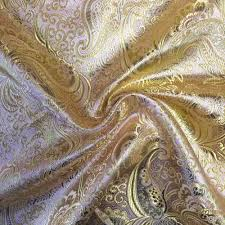 pink gold paisley brocade fabric fabrics