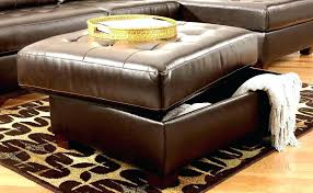 Square Brown Leather Ottoman Extraordinary Square Leather Storage Ottoman Taptotrip Me