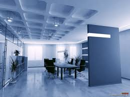 blue shade interior office design with unique ceiling part of
