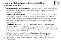 Business Letter Generic Recipient Establishing Business Relations Ppt Download