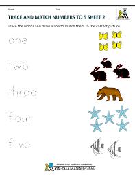preschool math worksheets matching to 5