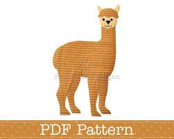 alpaca applique template animal diy children pdf pattern