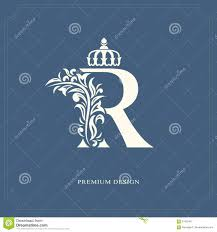 Name Style Design elegant letter r with a crown graceful royal style calligraphic