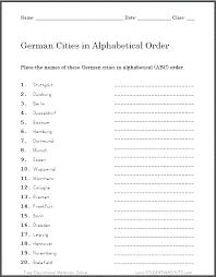 german cities in abc order worksheet student handouts