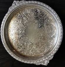 engraved silver platter engrave silver plate gaiety wm rogers tray 2171g